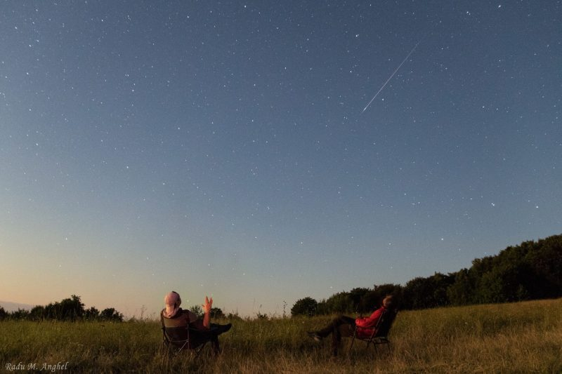 Two men in camp chairs in tall grass under a starry slate blue sky, with a meteor streaking above.