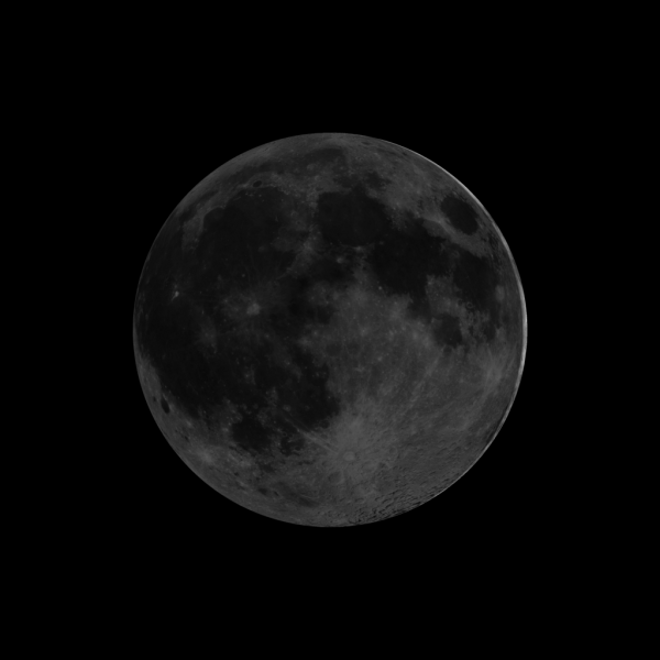 Almost black moon with very thin crescent line on right side.