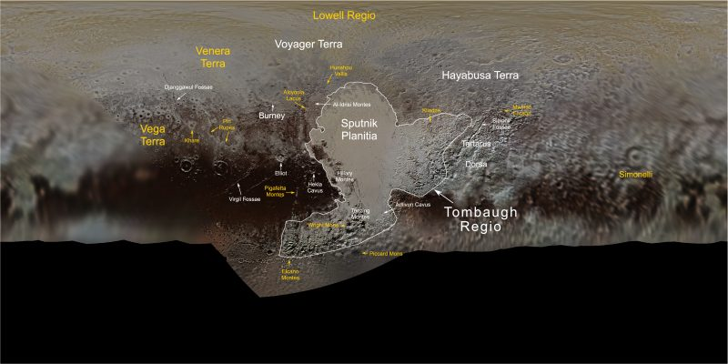Rolled-out photo map of Pluto with feature names marked.