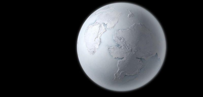 All-white planet with ice-covered continents in solid ice seas.