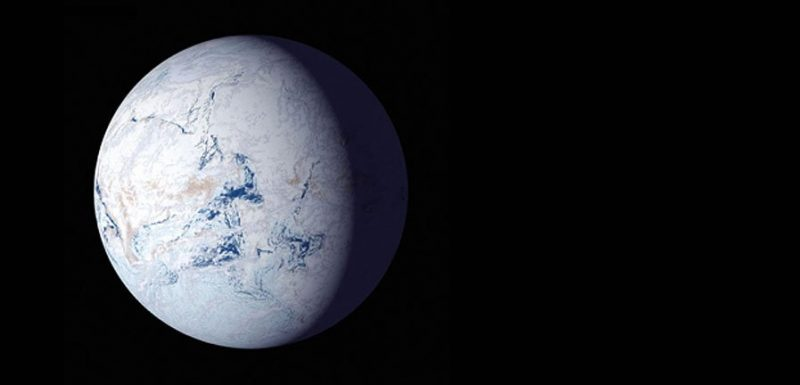 White, ice-covered planet with a few narrow, irregular dark streaks.
