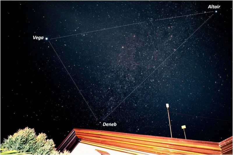 Annotated photo of bright Summer Triangle stars above the roofline of a house.