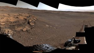 Brown, rocky, flat landscape.