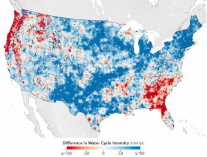 Map of US, colored in blue and red.