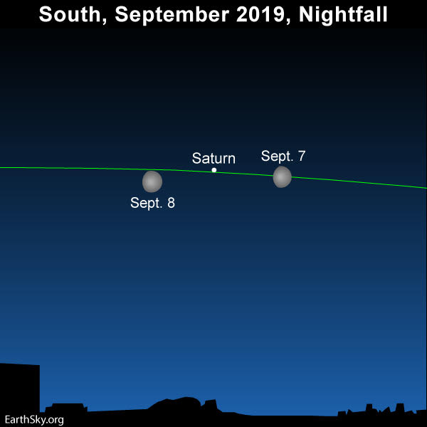 Moon and Saturn shine in the southern sky at evening dusk on line of ecliptic.
