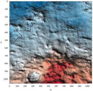 Colored elevation map.