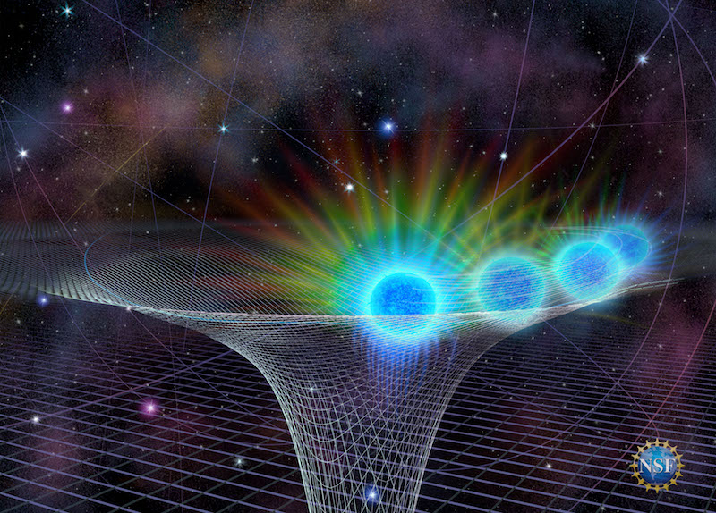 Star's positions in a white funnel-shaped net representing the black hole's gravity field.
