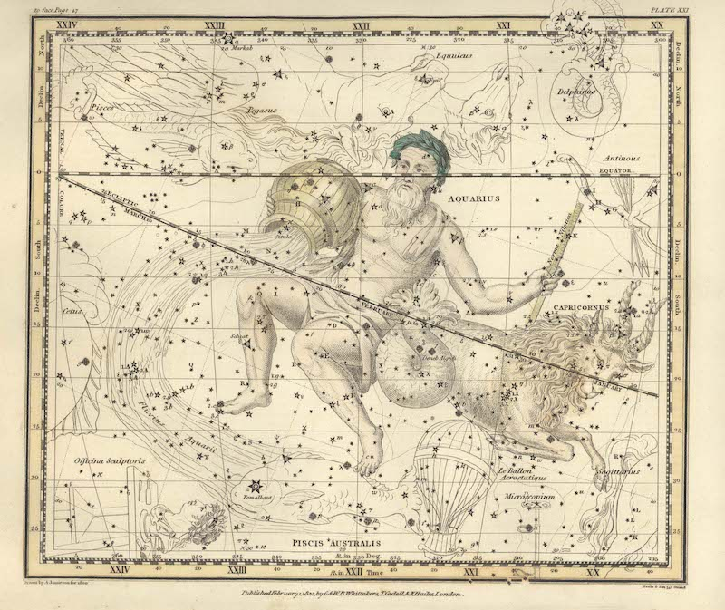 Antique etching of an old man carrying a water jug. Below him is a fish. Stars are scattered over the chart.