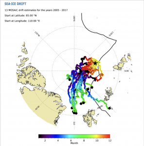 Illustration of drift routes for Arctic sea ice in past years.