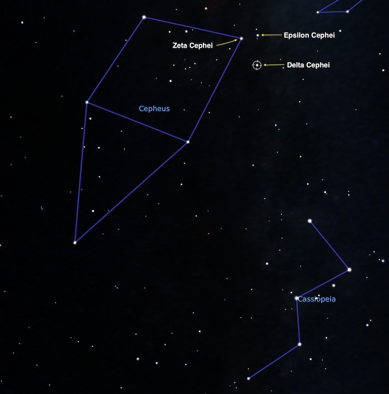 A close-up of the Cepheus constellation on a star map with Delta Cepheid, as well as Zeta and Epsilon Cephei.