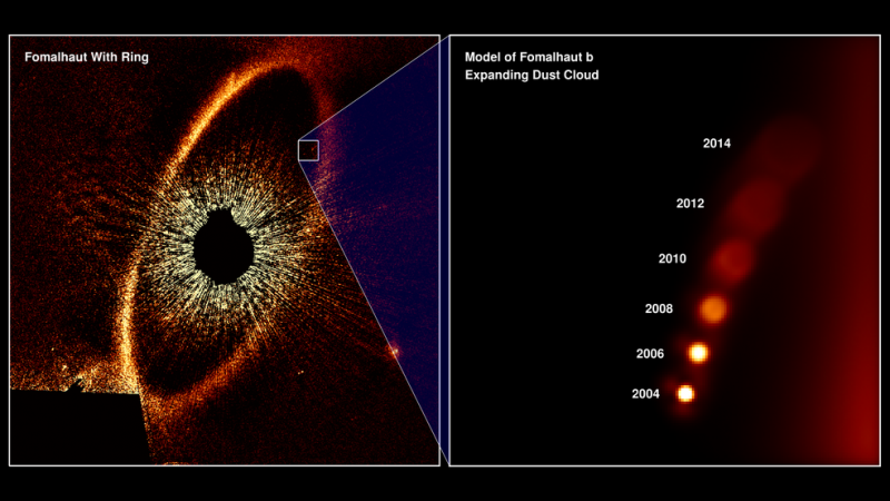 Two images. On the left a dark circle with a red ring around it. On the right a series of bright dots.