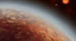 Two planets orbiting a red dwarf star.
