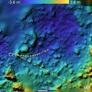 Graphic showing MASCOT's movements across asteroid Ryugu.
