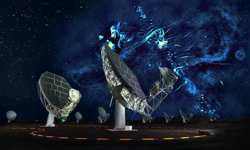 A white parabolic antenna structure with swirly blue shapes against a dark sky.