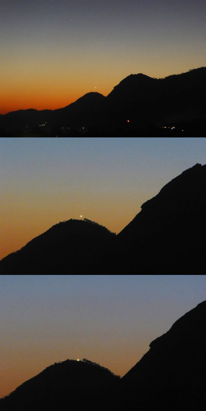 Three images after sunset, as the sky is darkening, of Mercury and Venus over dark mountain peak.