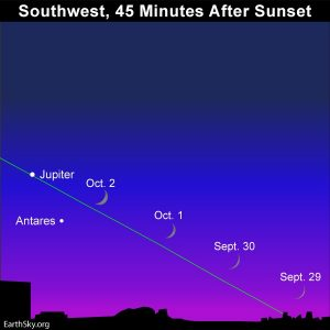 September 30, October 1-3, young moon.