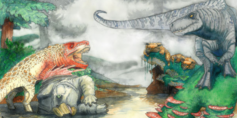 Prehistoric reptiles with lots of teeth about to fight over a reptilian carcass.