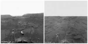 Two images of a flat, gray, rocky landscape.