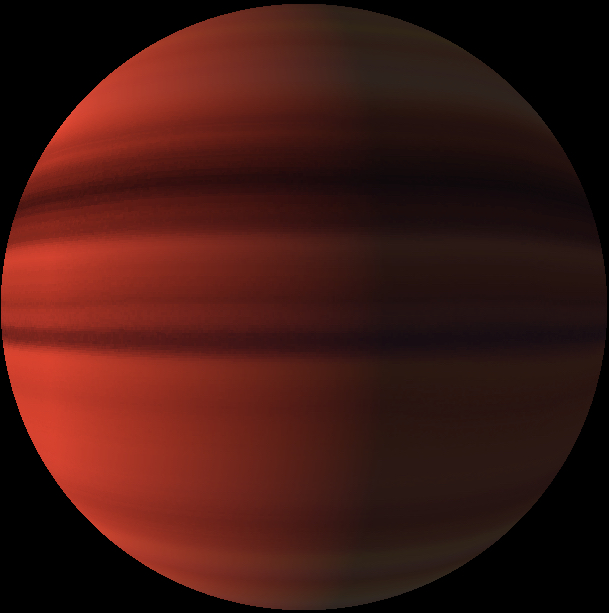 Deep red large planet with darker bands.
