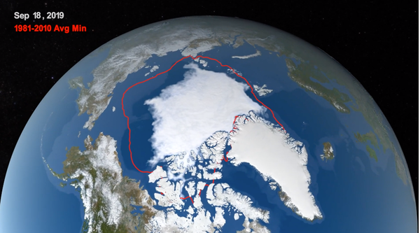 Satellite view of Arctic with red line well outside white area.