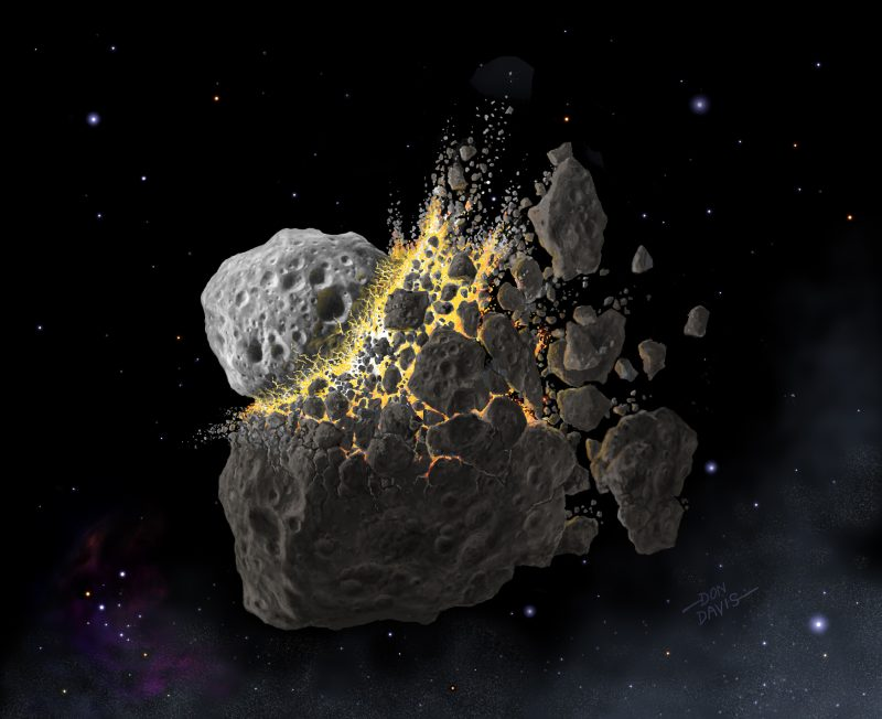 Two asteroids crashing into each other and disintegrating.