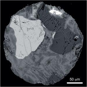 Microscopic view of a micrometeorite.