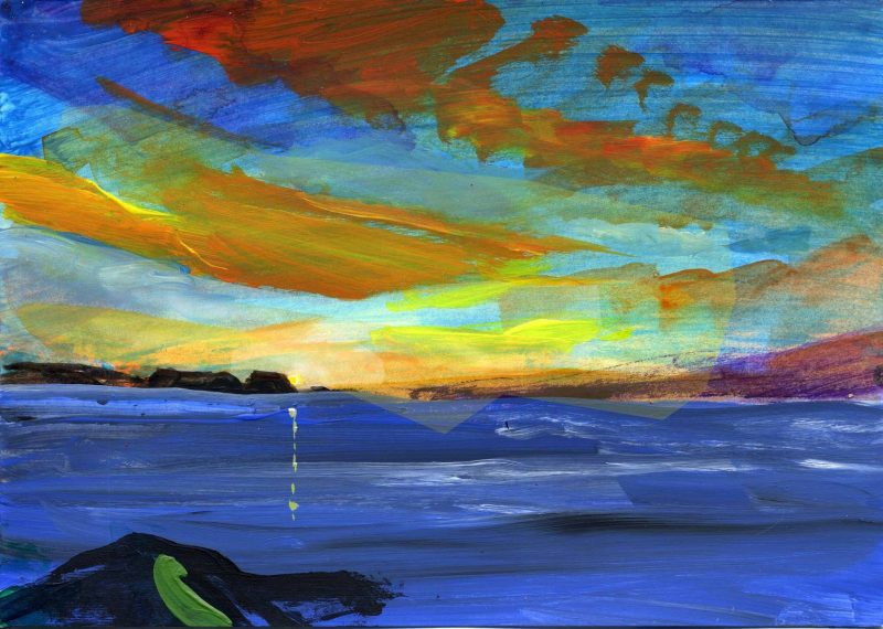 A painting of yellow, green, and russet dawn over the blue ocean.