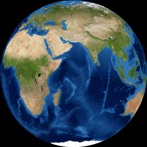 Earth as 'seen' from sun at September 2019 equinox. Africa and Asia visible.
