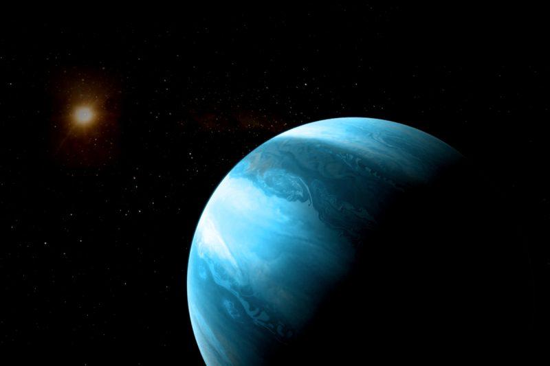 Giant blue banded planet orbiting small reddish star.