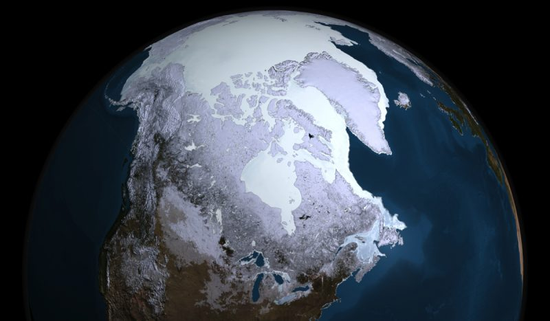 Ice covering North America.