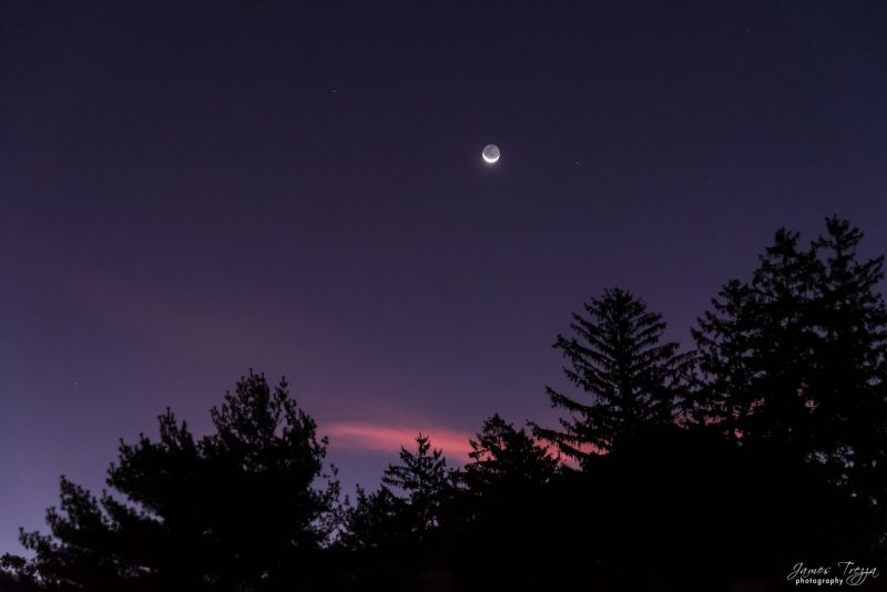 Old waning crescent moon with Regulus at dawn.