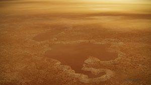 Artist's depiction of looking through haze at a large Titan lake.