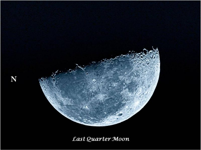 One half the moon's face in sunlight, lighted portion facing downward, left side marked N for north.