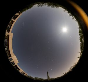 Bright earthgrazing fireball, captured by an automatic camera, seen as morning twilight is beginning.