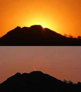 Composite image of first a sunset behind a mountain rim, then a crescent moonset behind the same mountain rim.