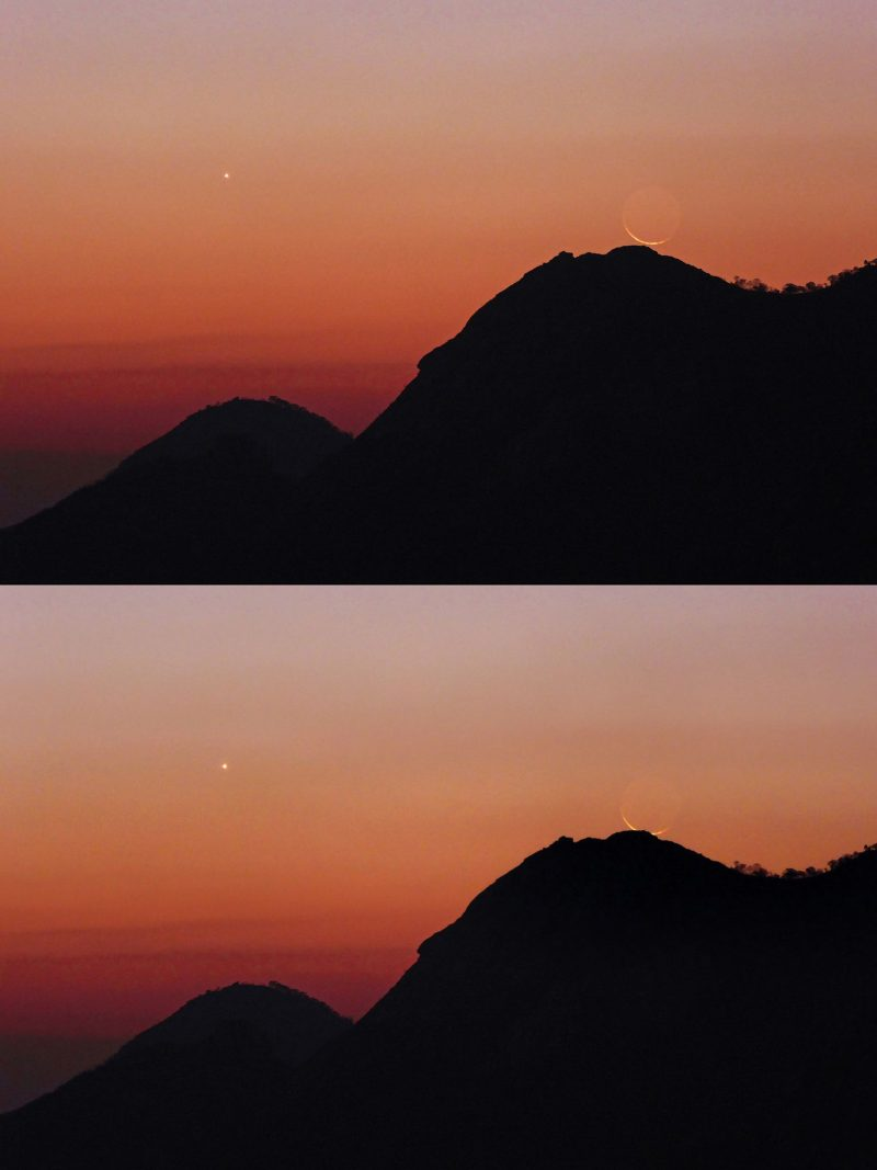 Composite image showing 2 shots of the moon and Venus, setting behind a mountain rim.