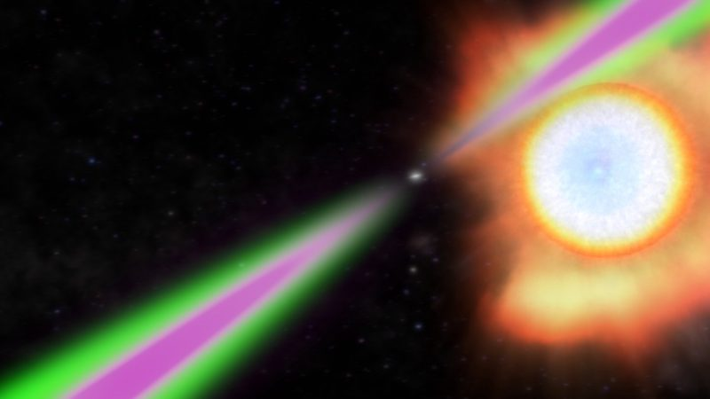 Small star with magenta and green beams radiating 180 degrees apart.