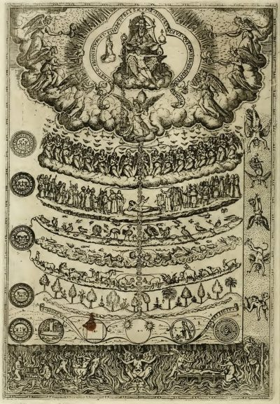 Antique etching of tower of created beings with plants at the bottom and angels at the top.