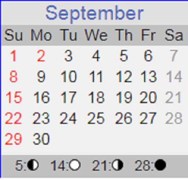 September 2019 calendar with Sundays in red and moon phases shown at bottom.