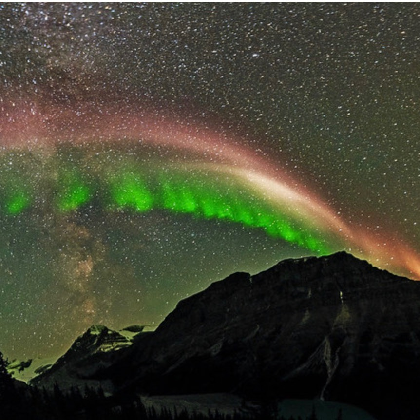 Sub-auroral arc over Peyto Lake, Alberta