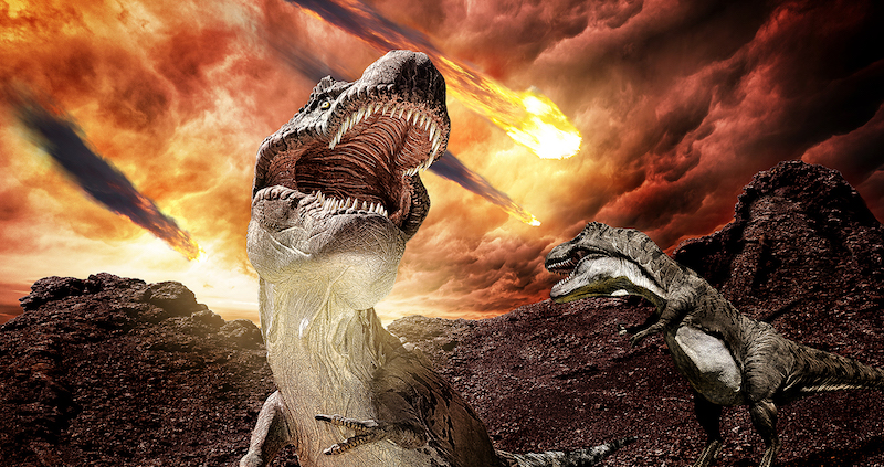 Flaming debris falling from roiling orange clouds with screaming dinosaurs in foreground.