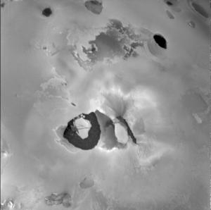 Voyager image of volcano Loki on Io.