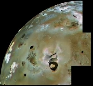 A portion of the surface of Io, appearing mottled.