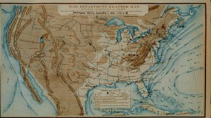 Photo of a historical weather map.