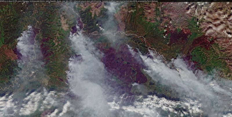 Aerial view of smoke streaming from locations in forested ground.
