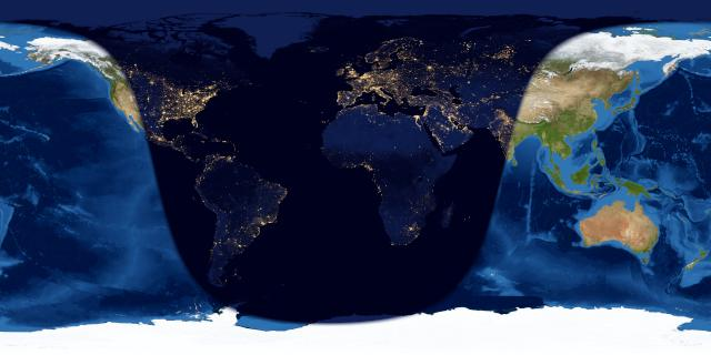Map of the world with nighttime portion dark and the rest light.