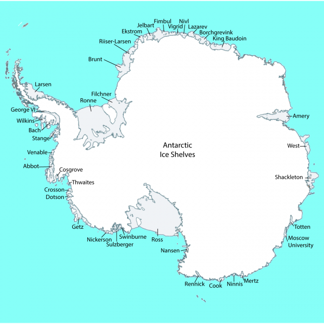 A map showing very many Antarctic ice shelves, which ring the continent.