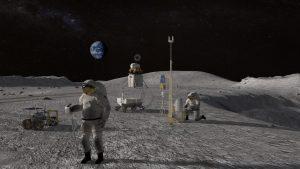 Astronauts on the moon.