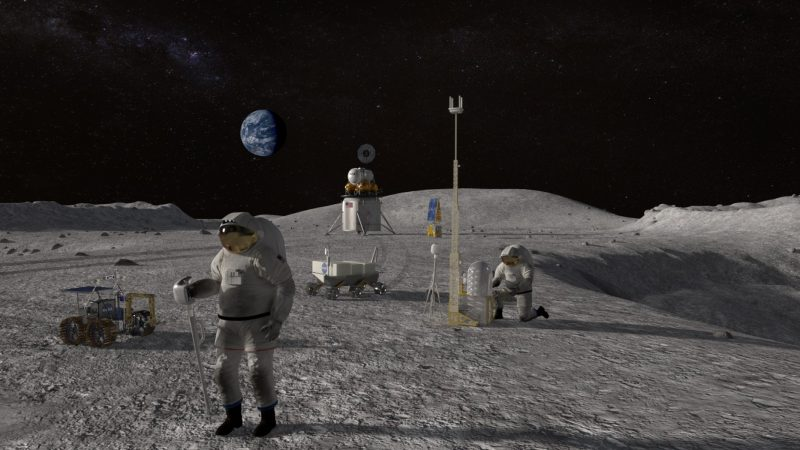 Futuristic astronauts on the moon with equipment and Earth over the horizon.
