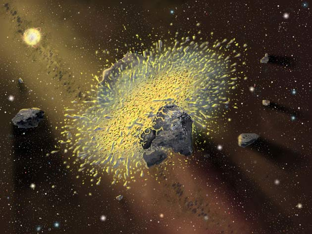 Two irregular rocky space objects colliding with huge force with glowing debris flying outward.